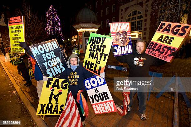 Six members an antigay protest group from the Westboro Baptist Church from Topeka Kansas protest a performance at the Black Box Theatre at the Boston...