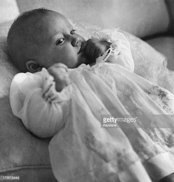 Six months old Princess Astrid of Belgium is the daughter of Prince Albert of Belgium later King Albert II of Belgium and Princess Paola of Belgium...