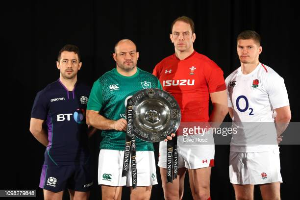 Six nations international home nation rugby captains Scotland's Greig Laidlaw Ireland's Rory Best Wales' Alun Wyn Jones and England's Owen Farrell...