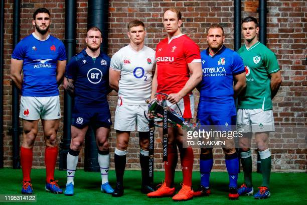 Six nations international rugby captains France's captain Charles Ollivon, Scotland's captain Stuart Hogg, England's captain Owen Farrell, Wales'...