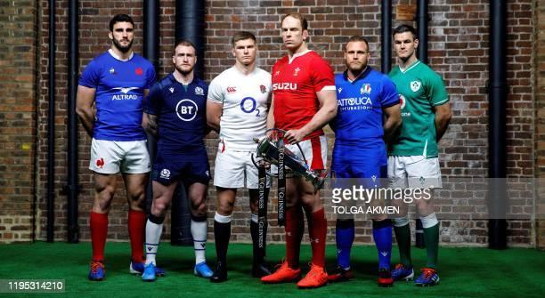 Six nations international rugby captains France's captain Charles Ollivon, Scotland's captain Stuart Hogg, England's captain Owen Farrell, Wales'...
