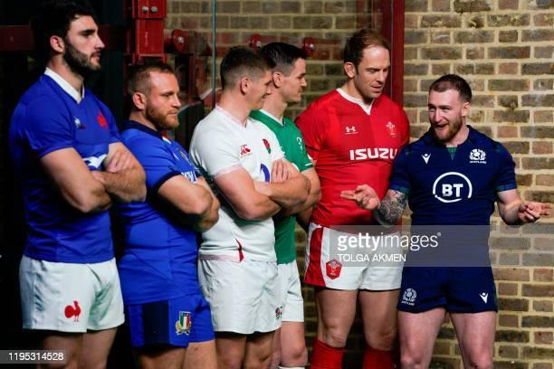 Six nations international rugby captains France's captain Charles Ollivon Italy's captain Luca Bigi England's captain Owen Farrell Ireland's captain...