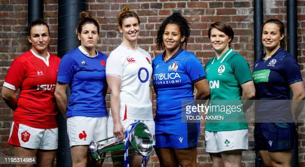 Six nations women's international rugby captains Wales' Siwan Lillicrap, France's Gaelle Hermet, England's Sarah Hunter, Italy's Giada Franco,...
