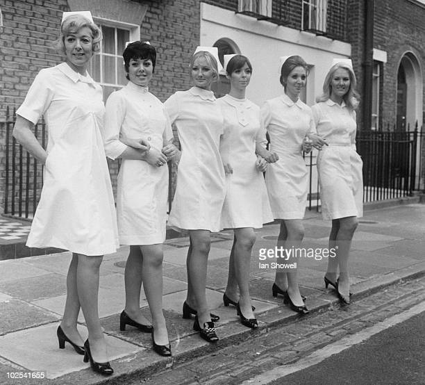 Six nurses modelling new uniforms which will be on show at the London Nursing Exhibition at Seymour Hall London 13th October 1969