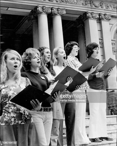 Six of the girls practicing at the Town Hall Left to right Linda Ahrens of Kirribilli Jackie Whyatt of St Ives Carolyn Thompson of Paddington June...