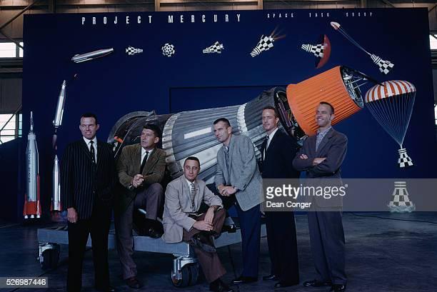 Six of the original seven Mercury astronauts Leroy G Cooper Jr Capt USAF Walter M Schirra Jr Lt Comdr USN Virgil I Grissom Capt USAF Donald K Slayton...