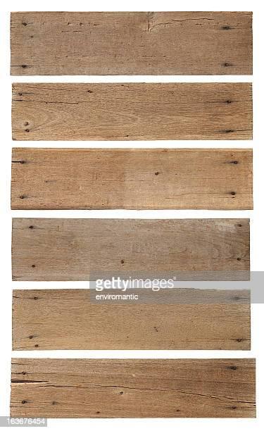 Six vieux de planches en bois patiné.