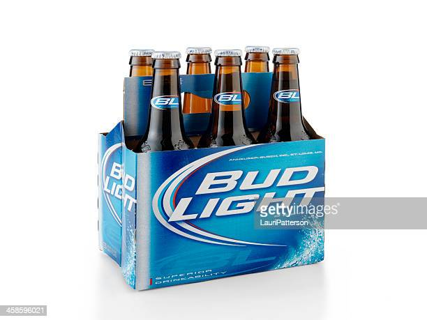 six pack of bud light beer bottles - bud light stock pictures, royalty-free photos & images