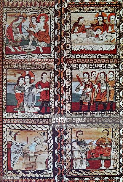 Six panels from the ceiling of the Church of Zillis Left to Right The Washing of the Feet The Last Supper The Arrest The Arrest St Martin and St...