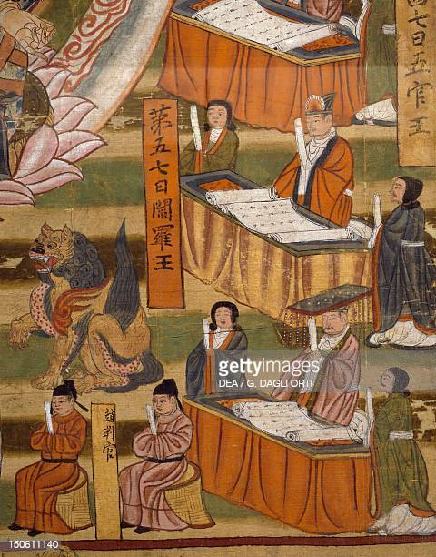 Six paths of rebirth and the ten kings Bodhisattva Ksitigarbha painting on silk China Detail Chinese Civilisation 8th year of the Taiping Xingguo...