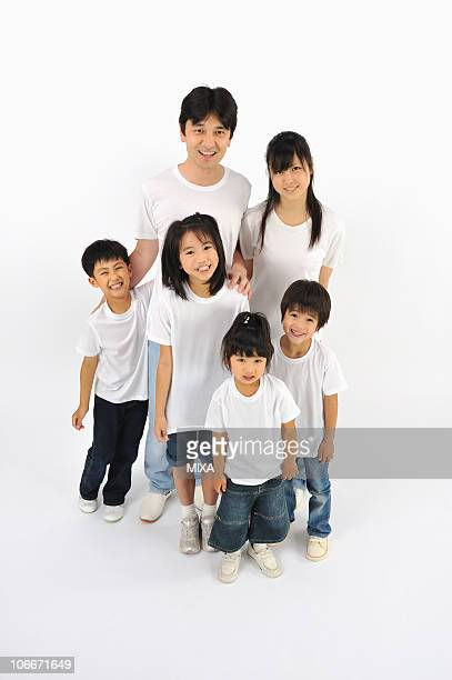 Six people in T-shirt and jeans