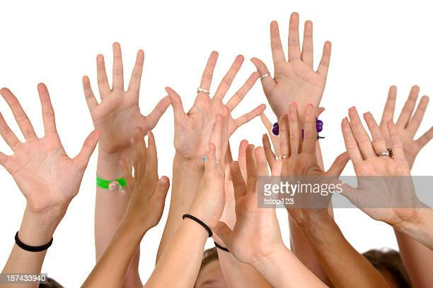 Six people's hands raised. Voting, volunteering. Service, multi-ethnic group.