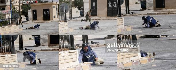 A six picture combo shows from top left to bottom right AFP reporter Sammy Ketz taking cover as a Syrian soldier runs past during sniper fire in...