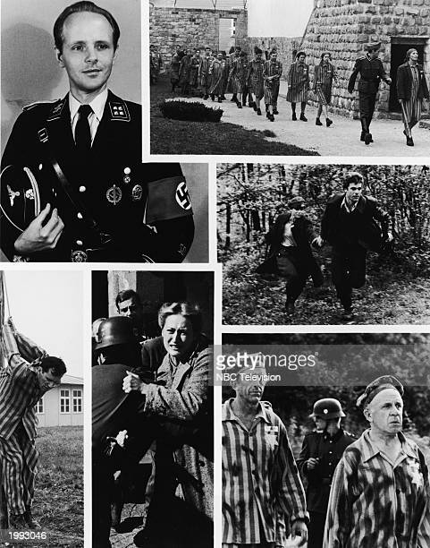 Six scenes from the television miniseries 'Holocaust' showing actors Michael Moriarty Tovah Feldshuh Joseph Bottoms Fritz Weaver George Rose Meryl...