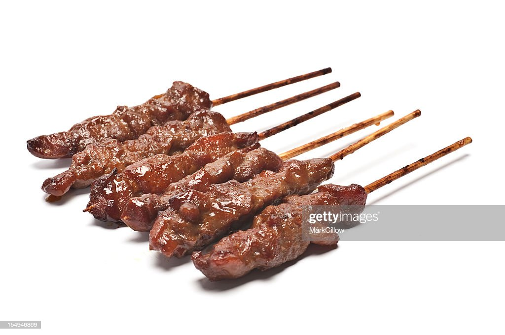 Six skewers of kebabs isolated on plain white background : Stock Photo