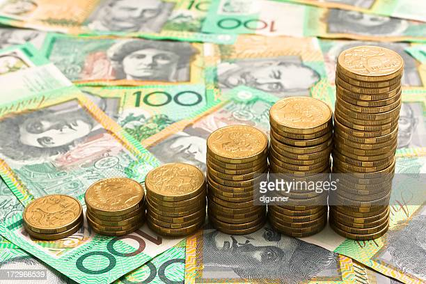 six stacks of gold coins shows growing funds - economy stock pictures, royalty-free photos & images