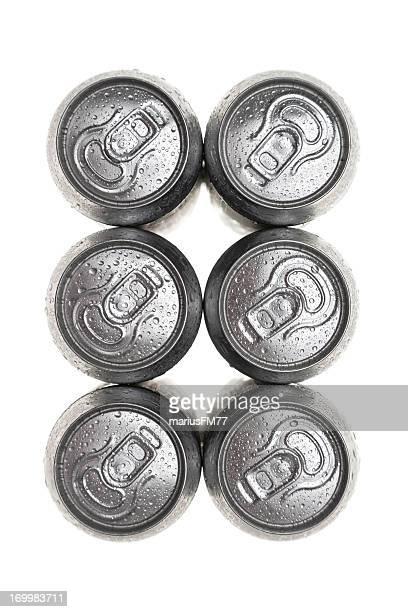 six wet canettes en aluminium verre