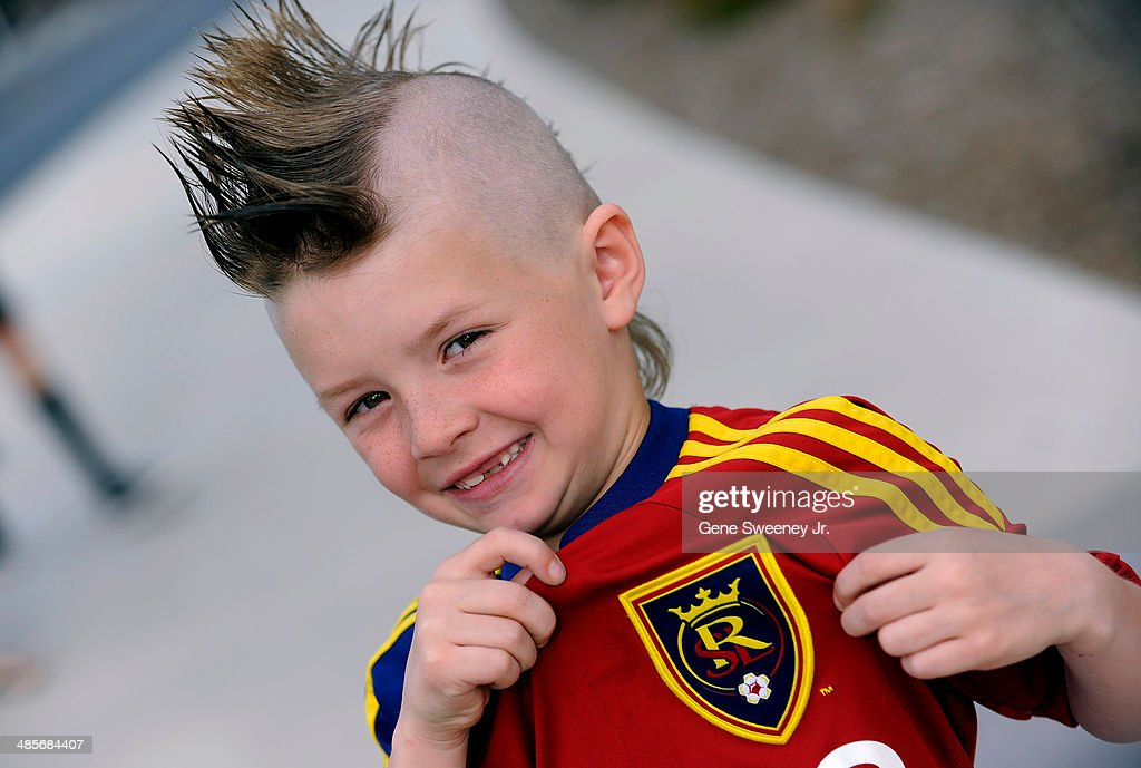 Six year old Aiden Overman shows off his Real jersey before the game between the Portland Timbers and Real Salt Lake at Rio Tinto Stadium April 19, 2014 in Sandy, Utah.