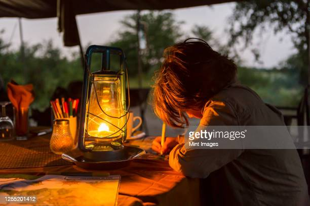 six year old boy writing a journal by lantern light in a tented camp. - night safari stock pictures, royalty-free photos & images