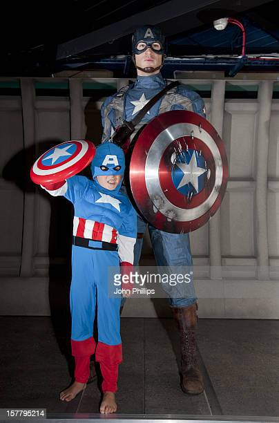 Six Year Old Ellis Jones Poses With The New Wax Work Figure Of Captain America Who Is Being Played By Chris Evans Is Unveiled And Added To The...