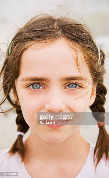 Six  year old girl with damp hair, portrait