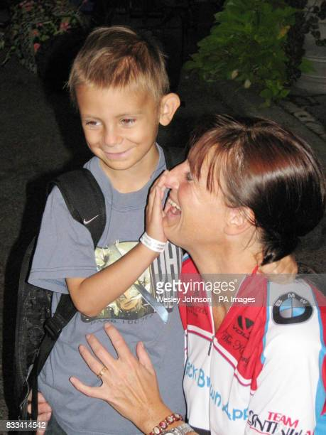 Six year old Jack Brown with his mother Yvonne in Central Park New York at the start of a 220 mile sponsored cycle ride to Cranston Rhode Island to...