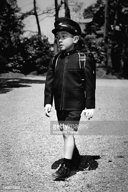 Six year old Prince Naruhito on his way to school carrying the book satchel on the back in 1966 in Tokyo Japan