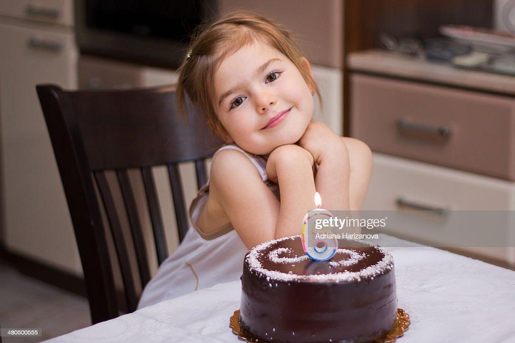 Six years birthday cake : Stock Photo