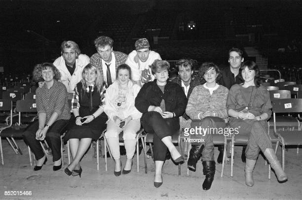 Six young ladies met Spandau Ballet at Wembley Area part of their prize in a Daily Mirror Rock Pop Competition 7th December 1984