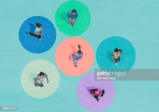 Six young women running, Aerial Views