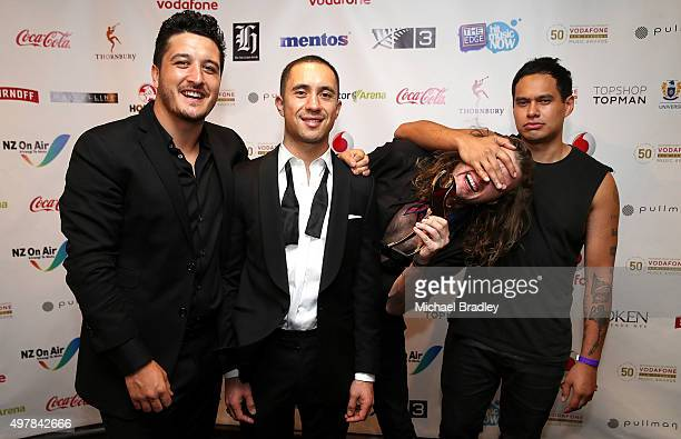Six60 win the Peoples Choice Award at the Vodafone New Zealand Music Awards at Vector Arena on November 19 2015 in Auckland New Zealand