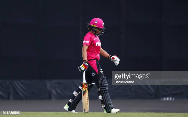 Sixers Ashleigh Gardner leaves the pitch after losing her wicket during the Women's Big Bash League match between the Sydney Sixers and the Adelaide...