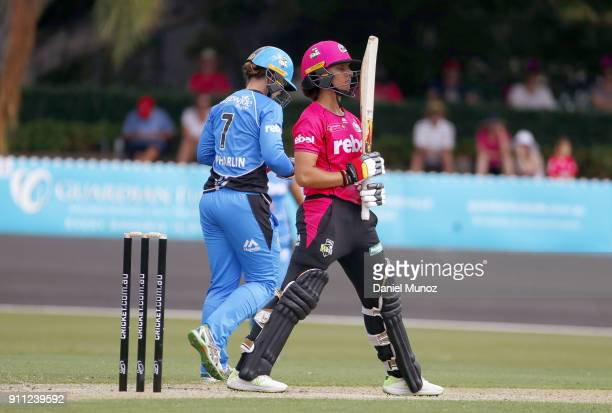 Sixers Ashleigh Gardner reacts during the Women's Big Bash League match between the Sydney Sixers and the Adelaide Strikers at Hurstville Oval on...