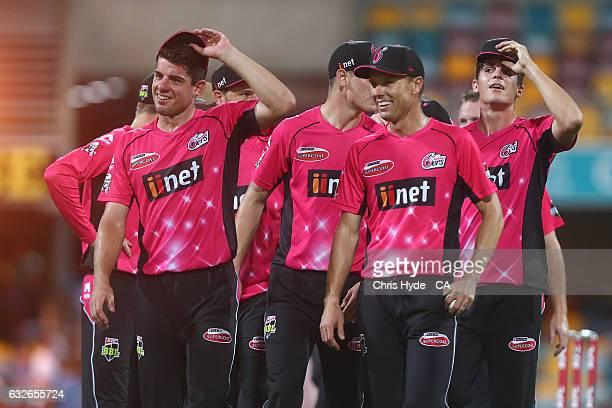 Sixers celebrate winning the Big Bash League semi final match between the Brisbane Heat and the Sydney Sixers at the The Gabba on January 25 2017 in...