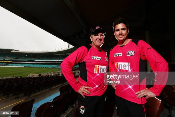 Sixers coach Trevor Bayliss and newly named Sixers captain Marcus North pose during a Sydney Sixers Big Bash League press conference at Sydney...