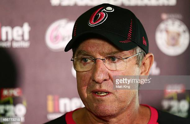 Sixers coach Trevor Bayliss speaks to the media during a Sydney Sixers Big Bash League press conference at Sydney Cricket Ground on February 4 2014...