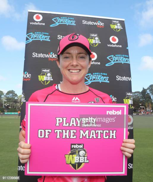 Sixers Sarah Coyte poses with the player of the match sign after winning the Women's Big Bash League match between the Sydney Sixers and the Adelaide...