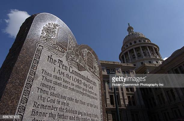 A sixfoot high tablet of the Ten Commandments which is located on the grounds of the Texas Capitol Building in Austin Texas is seen on February 28...