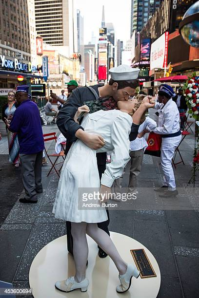 A sixfoot statue reenacting the Times Square Kiss photo taken by Alfred Eisenstaedt is stands in in Times Square after its unveiling to mark the...