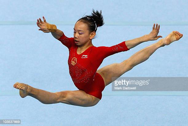 Sixin Tan of China competes in the Women's floor final on day eight of the Singapore 2010 Youth Olympics at Bishan Sports Hall on August 22 2010 in...