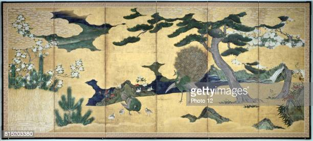 Sixleaved screen with displaying Peacock and Peahen with chicks Pines rocks bushes and stylised clouds Colour ink and gold on paper Early 17th...