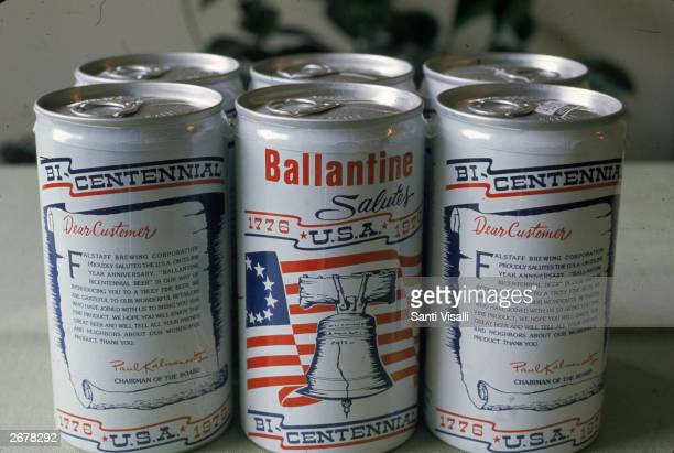 A sixpack of Ballantine's limited edition commemorative beer honoring the American Bicentennial 1976