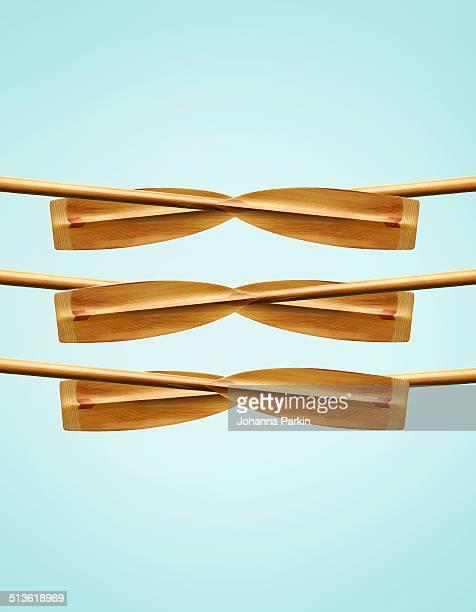 six-pack of rowing oars