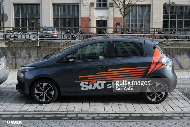 Sixt share electric car for carsharing stands on March 4 2019 in Berlin Germany Sixt share represents German car rental company Sixt's effort to...