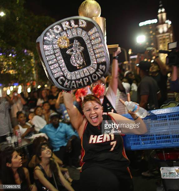 Sixta Garcia reacts as the Miami Heat wins the NBA title against the San Antonio Spurs June 20 2013 in Miami Florida The Heat won back to back...