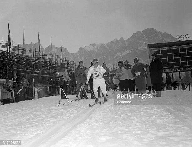Sixteen Jernberg of Sweden moves through the mountains during the 50kilometer crosscountry ski race February 2nd to ward a victory which made him a...