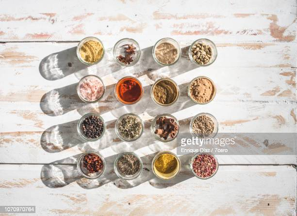 Sixteen Spice Jars Flat Lay with Sunlight