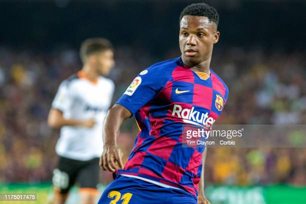 Sixteen year old Anssumane Fati of Barcelona in action during the Barcelona V Valencia La Liga regular season match at Estadio Camp Nou on September...