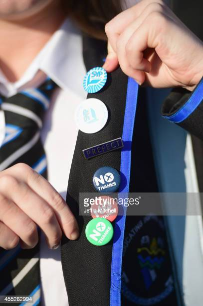 Sixteen year old first time voters depart the SSE Hydro following The Big Big Debate on September 11 2014 in Glasgow Scotland Thousands of young...