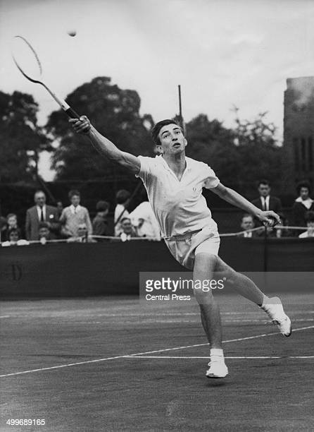 Sixteen yearold English tennis player Stanley Matthews competing against GR Stillwell in the Wimbledon Boys' Championship Wimbledon London 15th...